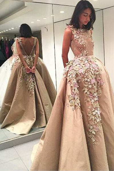 Elegant Bateau Backless Floor-Length Appliques Champagne Prom Dress With Lace Top,