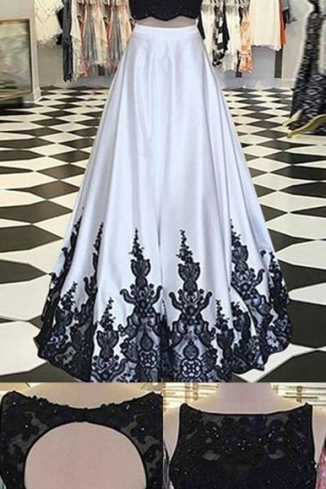 Two Piece Bateau Open Back Long White Satin Prom Dress with Beading Appliques