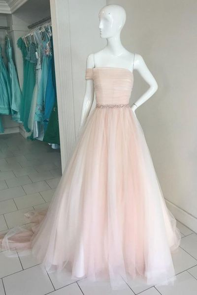 Princess pink tulle off shoulder A-line long senior prom dress, pink evening dress with sleeves from Sweetheart Dress