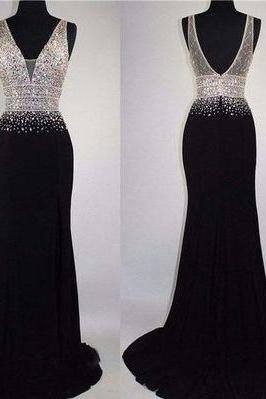 Black V-Neck Prom Dresses Mermaid backless Sparkly Shining Gorgeous Evening Dress,