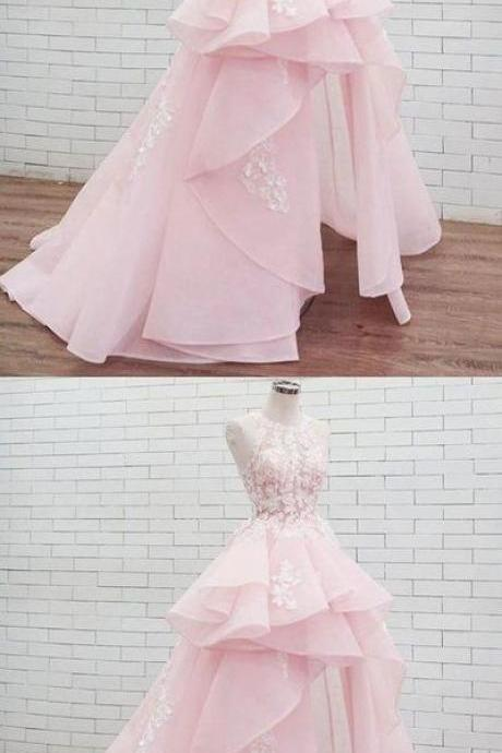 PinK lace tulle long prom dress, pink tulle evening dress