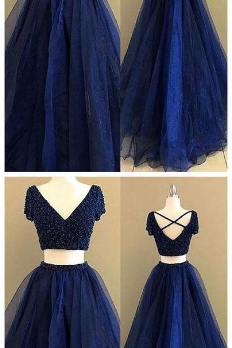 Simple Prom Dresses,New Prom Gown,Vintage Prom Gowns,royal Blue Two Pieces Long Prom Dress, Blue Evening Dress,