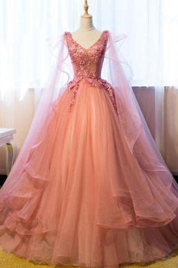 Beautiful Prom Dresses Ball Gown Floor-length V-neck Sexy Prom Dress/Evening Dress