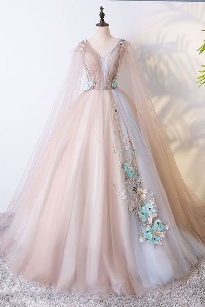Champagne Tulle Long Prom Dress,Champagne Tulle Evening Dress