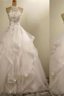 Romantic wedding dress,Ball Gown Wedding Dress,Tulle Wedding dress,Halter Wedding dress