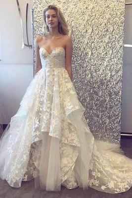 Charming Sweetheart Unique Bridal Inexpensive Long Wedding Dresses,