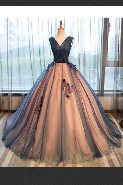 Custom Made Fancy Prom Dresses Long, Prom Dresses Blue, Dark Blue Prom Dresses,