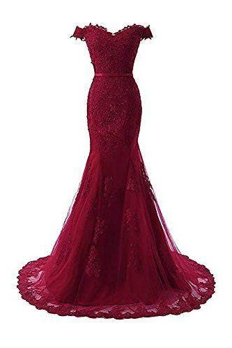 Women's Off Shoulder Mermaid Long Prom Dress 2019 Formal Gowns online shopping