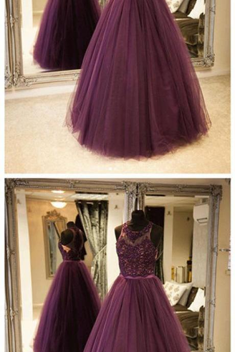 New Styles Purple tulle lace long prom dress, purple evening dress