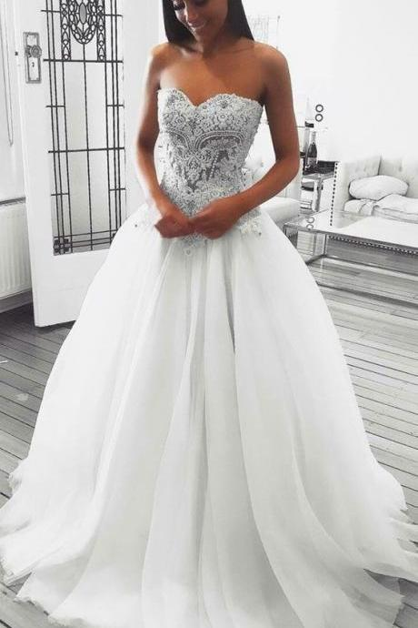 A-Line Sweetheart Sweep Train White Prom Dress with Appliques Beading