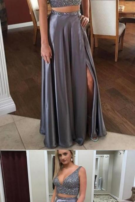 Silver Grey Two Pieces Prom Dress,Long Homecoming Dress, Back to Schoold Party Gown