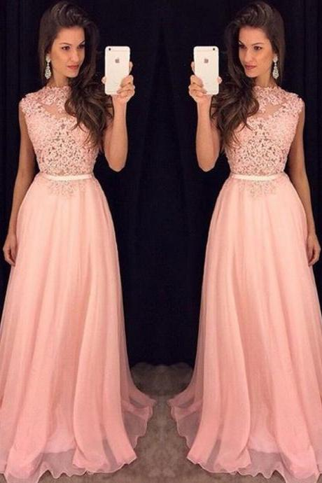 Light Pink Prom Dress ,Long Homecoming Dress, Back to School Party Gown