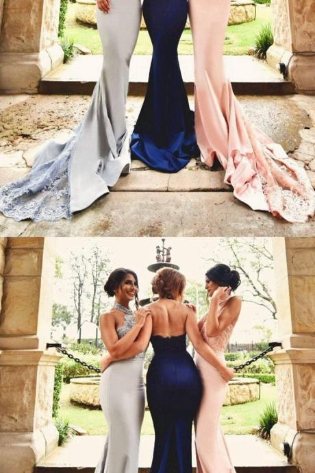 Mermaid Prom Dress High Halter Neckline, Bridesmaid Dresses,Homecoming Dress Long, Back to Schoold Party Gown
