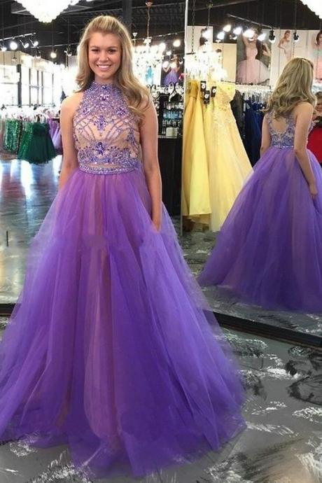 Prom Dress Halter Neckline, Homecoming Dress Long, Back to Schoold Party Gown