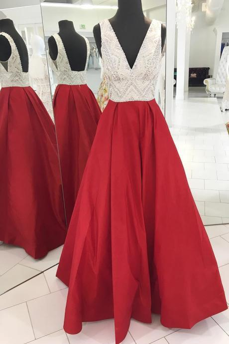 Red Prom Dress V Neckline, Birthday Party Gown, Homecoming Dress Long, Back to Schoold Party Gown