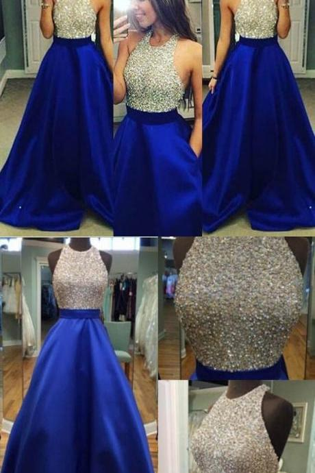 Royal Blue Prom Dress Halter Neckline, Birthday Party Gown, Homecoming Dress Long, Back to Schoold Party Gown