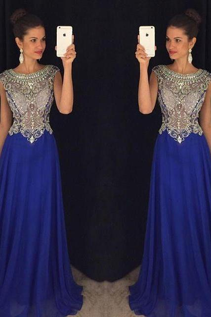 Royal Blue Prom Dress, Ball Gown, Evening Dress,Birthday Party Gown, Homecoming Dress Long, Back to School Party Gown