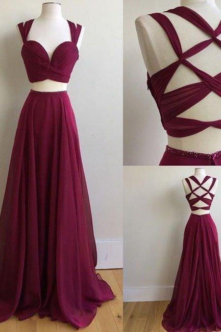 Sexy Two Pieces Prom Dress, Ball Gown, Evening Dress,Birthday Party Gown, Homecoming Dress Long, Back to Schoold Party Gown