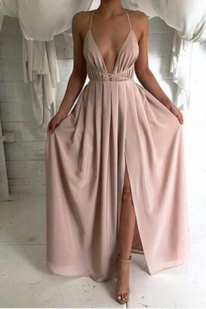 sexy backless prom dress, long prom dress, simple prom dress, cheap prom dress, dusty pink prom dress, prom dresses