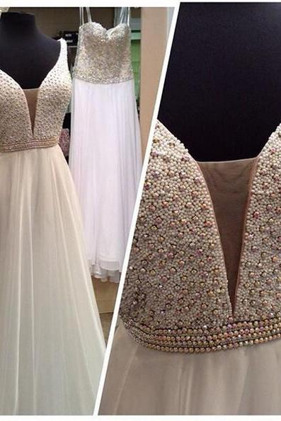 White Prom Dress,White prom Dresses,White evening Gowns,Beautiful Evening Gowns