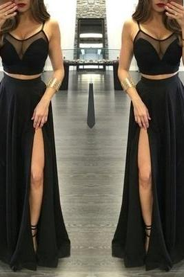 Black Illusion Spaghetti Straps Side-Slit Two Pieces Prom Dresses