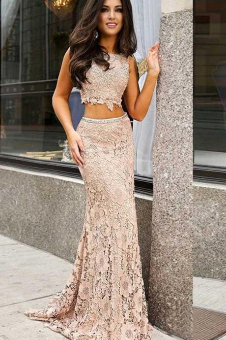 Two Piece Lace Open Back Prom/Evening Dress with Sequins