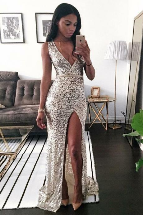 Mermaid Deep V-Neck Sweep Train Silver Sequined Sleeveless Prom Dress