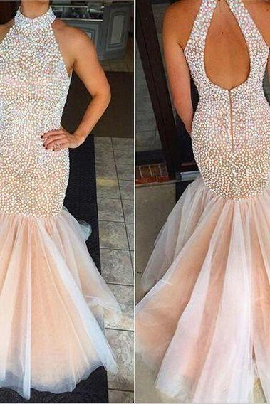 Champagne Prom Dresses, Mermaid Prom dress, Backless prom dress