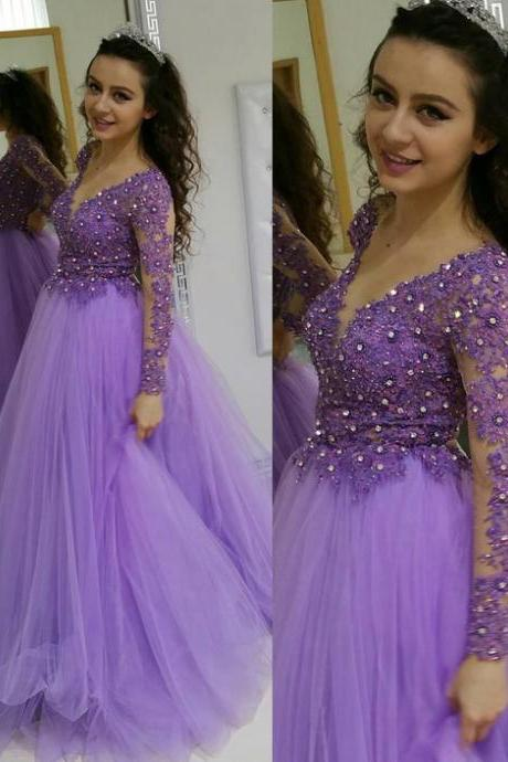 Sexy prom dress, long sleeve prom dress,tulle beaded evening formal dress, long homecoming dress
