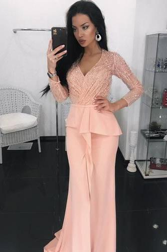 Sparkly Beaded Evening Dress, Long Sleeve Prom Dress, Sexy Mermaid Evening Dresses, Formal Gown