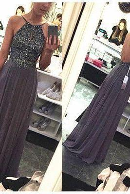 Charming Prom Dress, Sexy Chiffon Evening Dress, Open Back Prom Dress