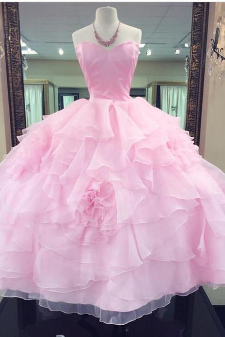 Sexy Evening Dress, Sleeveless Pink Ball Gown Prom Dress, Formal Dress