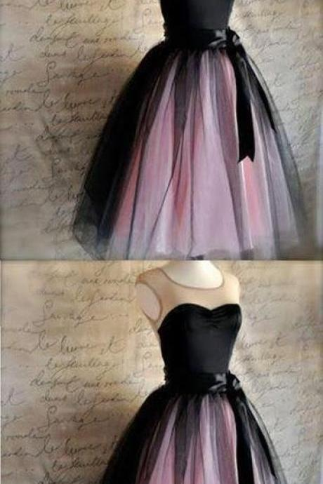 Sweetheart Sleeveless Black Tulle Homecoming Dresses