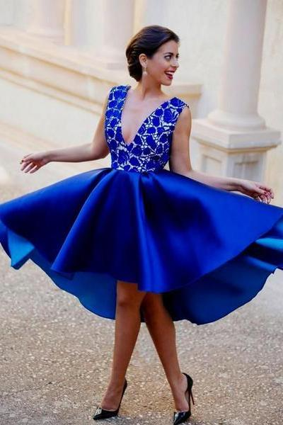 Royal Blue Lace Satin V-Neck High Low Homecoming Dresses