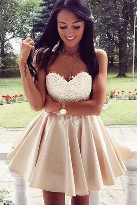 Simple Sweetheart Lace Cute Simple Cheap Homecoming Dresses