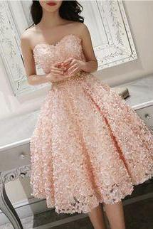 Cute Pink Floral Lace Short Sweetheart Romantic Party Dress, Teen Formal Dress