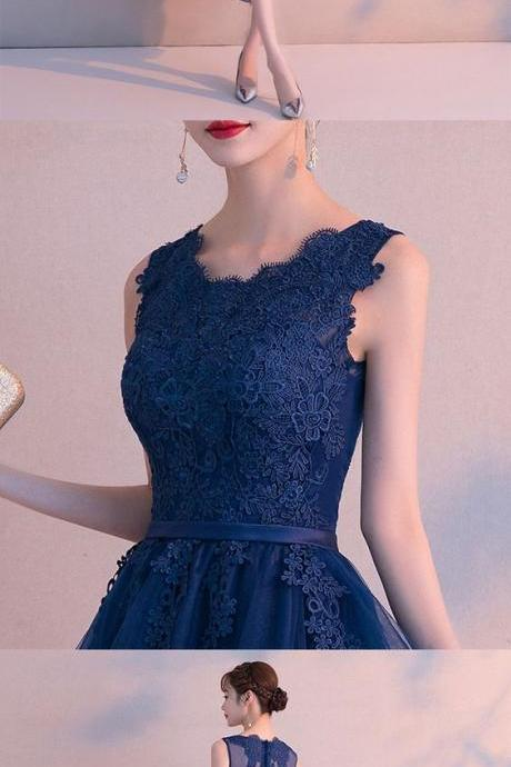 Dark blue lace tulle short prom dress, homecoming dress from Little Cute