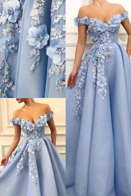 Charming Blue Tulle Flower Long Prom Dresses, Sexy Blue Evening Party Dress L6058 by lass
