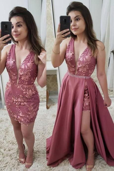 Fashion Deep V Neck Lace Detachable Skirt Fancy Prom Dresses Formal Evening Grad Dress