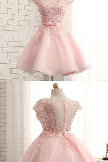 Fabulous Cap Sleeve Pink Lace Beaded Tulle Short Homecoming Prom Dresses, Affordable Short Party Prom Sweet 16 Dresses, Perfect Homecoming Cocktail Dresses