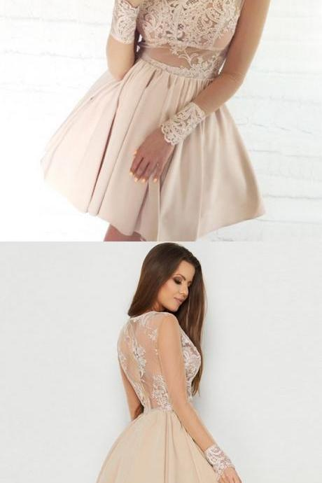A-Line Scalloped Long Sleeves Light Homecoming Dress with Lace