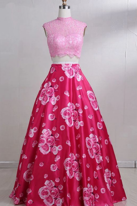 Hot Pink Floral Satin Two Pieces Lace Prom Dress, Fabulous Elegant Sleeveless Party Dress