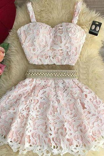 Adorable Two Piece A-line Lace Homecoming Dress/Party Dress