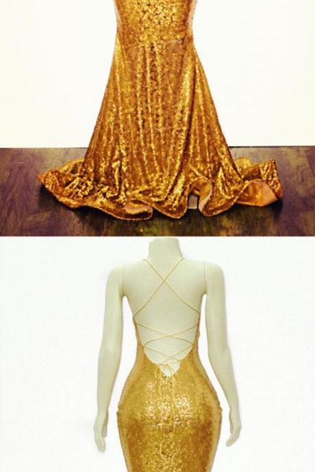 Gold Mermaid V-neck Cross Back Sequins Prom Evening Dresses