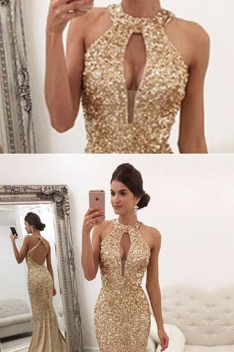 champagne mermaid crystal beaded prom evening dress
