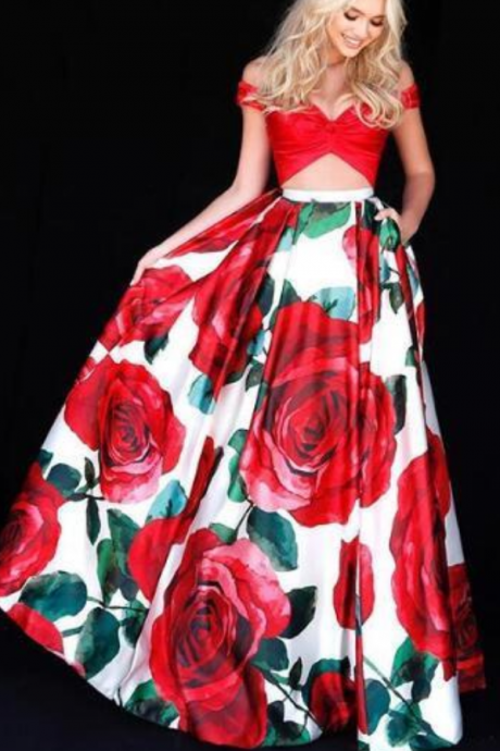 Sexy Two Pieces Prom Dress, Ball Gown Long Prom Dresses, Floral Print Prom Gown Evening Dress