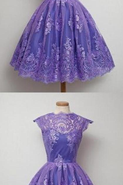 Sale Luscious High Neck 2019 Vintage Homecoming Dress High Neck Purple Tulle Short Prom Dress