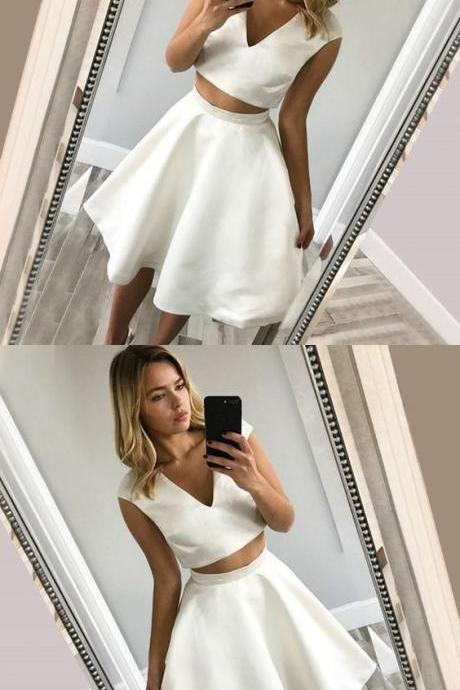 Two Piece A-Line V-Neck White Short Homecoming Dress