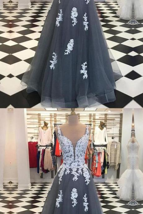 V Neck Grey Tulle Prom Dress With White Lace
