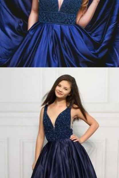Gorgeous Beads Dark Navy Blue Long Prom Dress